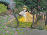 Indian School - Radha and Krishna embrace in a grove of flowering trees, c.1780