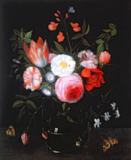 Jan van Kessel - Spring Flowers in a glass vase, 17th century
