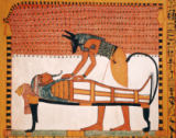 Egyptian 19th Dynasty - Anubis attends Sennedjem's Mummy, from the Tomb of Sennedjem, The Workers' Village, New Kingdom