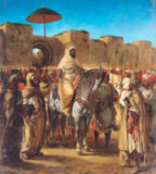 Eugène Delacroix - Muley Abd-ar-Rhaman (1789-1859), The Sultan of Morocco, leaving his Palace of Meknes with his entourage, March 1832, 1845