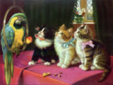 Unbekannt - Cats and a Parrot by H.Blain