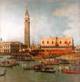 Giovanni Antonio Canaletto - View of the Palace of St Mark, Venice, with preparations for the Doge's Wedding