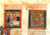French School - 184 Fr.110 f.405 Galahad comes to Arthur and Galahad draws the sword from the floating stone in the river at Camelot, c.1250-80