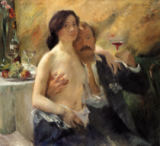 Lovis Corinth - Self portrait with his wife and a sekt glass, 1902