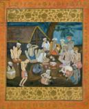 Mughal School - Assembly of fakirs preparing bhang and ganja, from the Large Clive Album