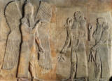 Assyrian School - Frieze depicting a winged spirit, a sargon or priest carrying a gazelle and a worshipper carrying a poppy stem, from the Palace
