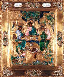 Russian School - Icon depicting Abraham and the Three Angels, Moscow School