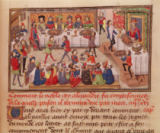 French School - Fol.298r How the Noble King Alexander was Poisoned, illustration from a book by Jean Wauquelin, 1460