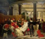 Emile Jean Horace Vernet - Pope Julius II ordering Bramante, Michelangelo and Raphael to construct the Vatican and St. Peter's, 1827