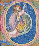 Sano di Pietro - Historiated initial 'O' depicting God creating the stars