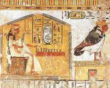 Egyptian 19th Dynasty - Nefertari playing senet, detail of a wall painting from the Tomb of Queen Nefertari, New Kingdom