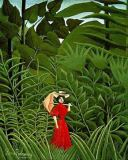 Henri J.F. Rousseau - Woman in Red in the Forest, c.1907