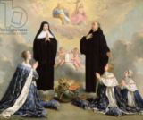 Philippe de Champaigne - Anne of Austria (1601-66) and her Children at Prayer with St. Benedict and St. Scholastica, 1646
