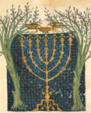 Joseph Asarfati - Illumination of a menorah, from the Jewish Cervera Bible, 1299