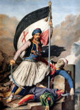 Louis Dupre - The Greek Rebellion, the standard bearer in Salona on Easter day 1821, litho by Lemercier for 'Voyage a Athenes', written and il