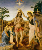 Andrea & Leonardo Verrocchio & da Vinci - The Baptism of Christ by John the Baptist, c.1475