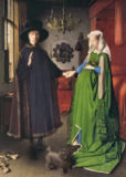 Hubert & Jan van Eyck - The Portrait of Giovanni  Arnolfini and his Wife Giovanna Cenami   1434