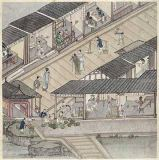 Chinesische Malerei - View of a Market in China