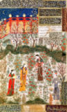 Islamic School - The Persian Prince Humay Meeting the Chinese Princess Humayun in a Garden, c.1450