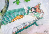 Carl Larsson - Woman Lying on a Bench, 1913
