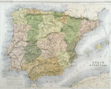 Alexander Keith Johnston - A map of Spain and Portugal, c.1869