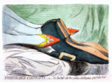 James Gillray - Fashionable Contrasts, or The Duchess's little Shoe yielding to the Magnitude of the Duke's Foot, published by Hannah Humphrey i