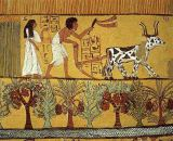 Egyptian 19th Dynasty - Sennedjem and his wife in the fields sowing and tilling, from the Tomb of Sennedjem, The Workers' Village, New Kingdom