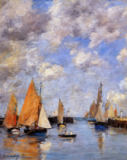 Eugene Louis Boudin - The Jetty at High Tide, Trouville