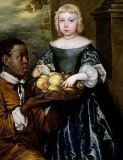 English School - A Young Girl Being Offered a Basket of Fruit by a Servant, c.1650