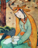 Persian School - Woman Writing in the Court of Shah Abbas I (1571-1629) 1585-1627