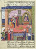 Persian School - Ms D-184 fol.381a Interior of the King of Persia's Palace, illustration from the 'Shahnama' , by Abu'l-Qasim Manur Firdawsi (c.9