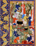 Persian School - Preparing a meal, illustration from an epic poem by Hafiz Shirazi, Safavid