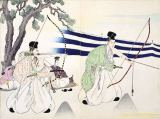 Japanese School - Nobles practice archery , 19th century, from an Album of Woodcuts, Colour wood block print