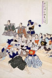 Japanese School - Warlord watches Samurai practising their swordplay, detail showing teachers and pupils looking on, from a 19th Century Album of
