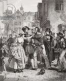 Alexander Johnston - The Press Gang seizing a waterman on Tower Hill on the morning of his marriage day, from `Illustrations of English and Scottish