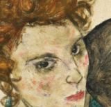 Egon Schiele - Detail of Seated Woman with Bent Knee, 1917