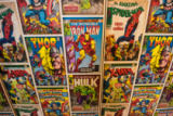 Anonymous - Wallpaper display created from covers of Marvel Comics, The Hulk, Iron-Man, Spider-Man, X-Men, Captain America & Thor