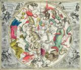 Andreas Cellarius - Map of the Southern Hemisphere, from 'The Celestial Atlas, or The Harmony of the Universe'  pub. by Joannes Janssonius, Amsterda