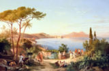 Carl Wilhelm Goetzloff - Bay of Naples with Dancing Italians, c.1850