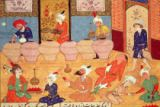 Persian School - Fol.33v, Detail of a banquet with musicians, from a book of poems by Hafiz Shirazi (c.1325-c.1388) 1554