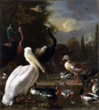 Melchior de Hondecoeter - A Pelican and other Birds near a Pool, Known as 'The Floating Feather', c.1680