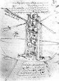 Leonardo da Vinci - Vertically standing bird's-winged flying machine, fol. 80r from Paris Manuscript B, 1488-90
