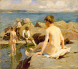 Harold Harvey - On the Rocks near Newlyn