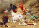 Eugene Remy Maes - Hens roosting with their chickens