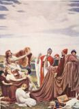 Lord Frederick Leighton - Phoenicians trading with Early Britons, illustration from 'Hutchinson's History of the Nations