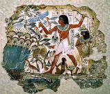 Egyptian 18th Dynasty - Nebamun hunting in the marshes with his wife an daughter, part of a wall painting from the tomb-chapel of Nebamun, Thebes, New K