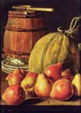 Luis Eugenio Meléndez - Still Life with pears, melon and barrel for marinading