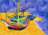 Vincent van Gogh - Fishing Boats on the Beach at Saintes-Maries-de-la-Mer