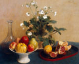 Ignace Henri Jean Fantin-Latour - Flowers, dish with fruit and carafe, 1865