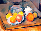 Paul Cézanne - Straw-covered vase, sugar bowl and apples, 1890-93